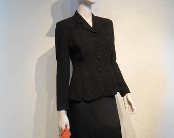 Anniversary Sale 35% Off Osterreich for the Fall - Vintage 1940s WW2 Black Wool Suit Jacket w/Rust Speckling - 4/6