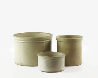 Antique Butter Crocks, Primitive Country Decor, Small Stoneware Crocks, Stoneware Butter Jars, Rustic Modern Decor, Choice of Three