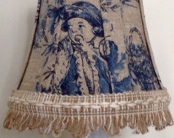 Blue and natural French toile chandelier shades, chandelier lamp shade, chandelier lampshade, lamp shade, lampshade, toile shade