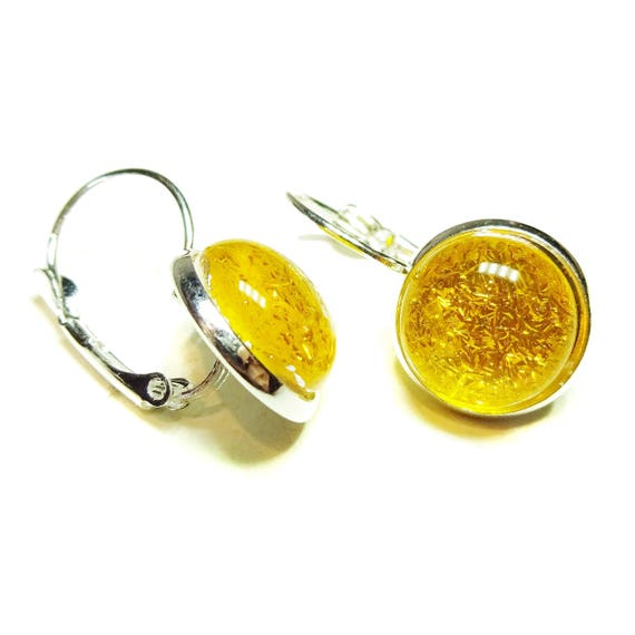 Dichroic Glass Lever Back Earrings - Yellow