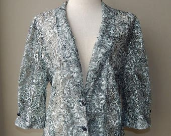 ON SALE Vintage Lace See Through Blazer Blouse Size XL Bust 44