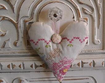 Lavender Heart Sachet Vintage Linen Provence Fragrance