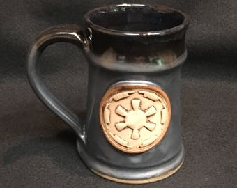 Star Wars inspired mug with Imperial symbol, 16 ounces, black over metallic glaze