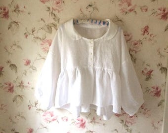 Soft White Linen Layering Top Jacket Romantic Puff Sleeve Baby Doll Peter Pan Collar Lagenlook Asymmetric Lightweight Linen Made To Order