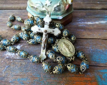 Vintage Rosary turquoise beaded gold filigree cross crucifix religious medal
