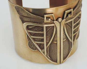 Art Deco Bracelet - Vintage Bracelet - Vintage Cuff - Art Deco Jewelry - Butterfly jewelry - Brass Bracelet - Butterfly Bracelet