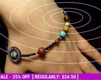 June SALE! MiniVerse - Solar System Bracelet - Wearable Map of the Solar System (7.5in) - Proportional Distances - Gemstone Planets - by