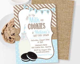 Milk and Cookies Baby Shower Invitation, It's a Boy Shower Invitation, Cookies and Milk Party, Burlap Invitation, Oreo Cookie