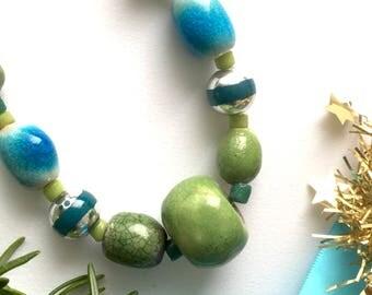 Green Ceramic Bead Necklace -Handmade in Cornwall- Handmade beaded necklace