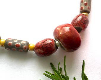 Red Ceramic Bead Necklace -Handmade in Cornwall- Handmade beaded necklace