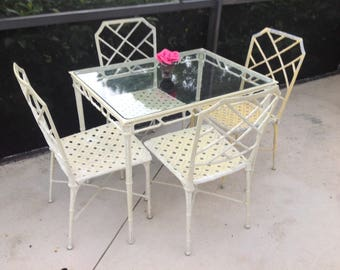 FAUX BAMBOO CALCUTTA Dining Set / Brown Jordan Faux Bamboo Chippendale Chairs / Calcutta Metal Chairs and Table Chinoiserie Retro Daisy Girl
