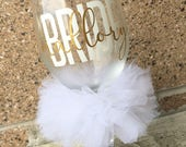 Custom Bride Wine Glass Personalized Name Bridal Wedding Shower Bachelorette Bridesmaid Groom Groomsman Marriage Wine Glass