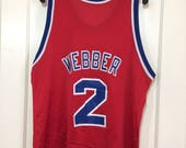 1990's Chris Webber Washington Bullets number 2 NBA Basketball team Champion made in USA Jersey Tank size 48 plain blank no print on front