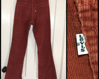 1970's Levi's 646 corduroys 30X33, 29x31 rust red corduroy bell bottom flare jeans Talon zipper #1600