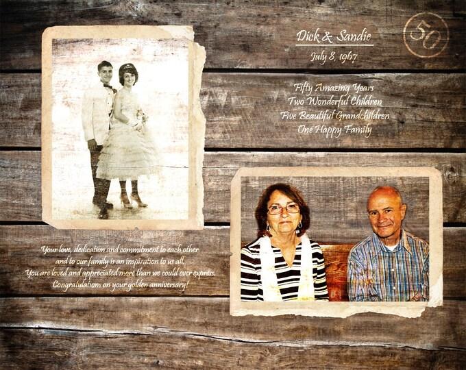 Golden Anniversary 50th Anniversary Gift Parents Anniversary Gift 50 Years Of Marriage 50 Years Ago Home Decor Wood Print 16x20