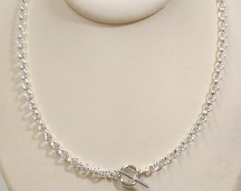 925 Sterling Silver 5mm ROLO / BELCHER Chain Toggle Clasp NECKLACE. Genuine Silver. Free Shipping Worldwide
