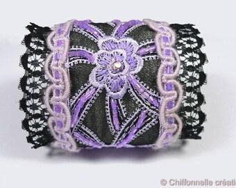 Gothic textile bracelet, black purple lace bracelet, handmade jewelry unique