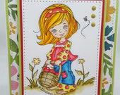 Summertime Girl Blank NoteCard, Greetings Card, Handmade Card
