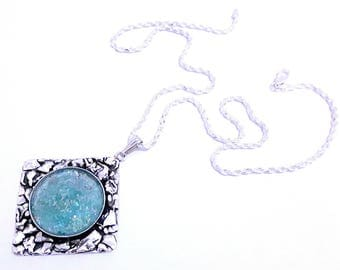 One of A Kind  Hand Made 925 Silver Rare Roman Glass Fragment  Pendant Necklace