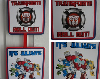 Transformers Rescue Bots Party Door Sign - MADE TO ORDER