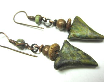 Claire Maunsell polymer clay dangle earrings green bone metal copper