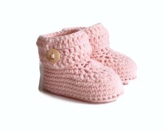 Short Button Cuff Baby Booties in Pink Merino Wool