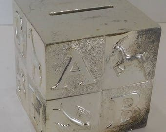 Silverplated Gorham ABC Piggy Bank made in Japan