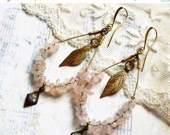 MOVING SALE On Sale PinkReflection, Vintage Pink Quartz Hoops,Vintage Brass Leaves & Diamonds,Aurora Borealis Rhinestone Assemblage Earrings