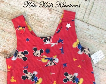 Toddler Romper/Made from Disney Mickey Mouse Fabric, Sizes 9M and 12M, Ready to Ship