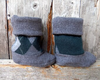 Upcycled 100% Wool Baby Booties High Top Boots Gray / Forrest Green Argyle  Booties Upcycled Wool Booties 6-10 Months