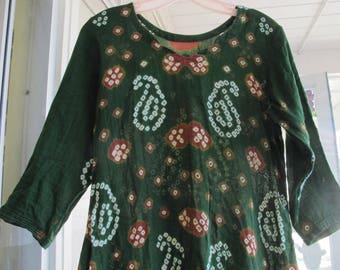 India Gauze Tunic Tie Dyed Vintage Bandhani Tunic Ethnic Boho Hippie Festival Handmade Loose Fit Kurti Green Cotton Paisley