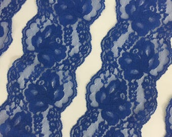 Lapis Blue Double Scallop Edge Lace Trim, 3.5 inches wide x 4.4 yards, Roses Floral Netting Scalloped Ribbon for Wedding, Apparel, Lingerie