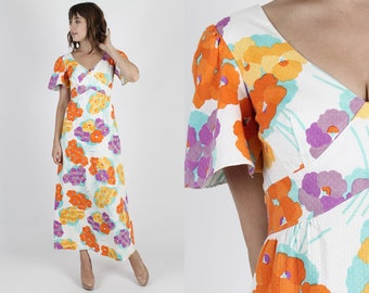 Malia Dress Summer Dress Sun Dress Hawaiian Dress Tiki Dress Bohemian Dress Vintage 70s Dress Pastel Floral Boho Hippie Cotton Maxi Dress S