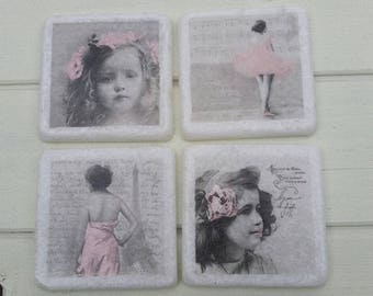 Victoriana Little Girls Coaster Set of 4 Tea Coffee Beer Coasters