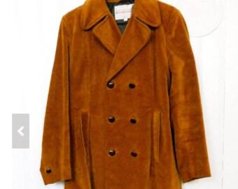 Vintage Van Heusen Windbreaker Brown Velvet Corduroy Coat Size M / 38
