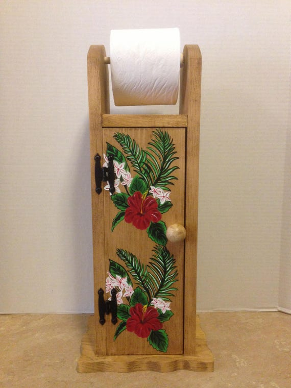 Toilet Paper Holder, Toilet Tissue Holder, Tropical Decor, Bathroom tissue holder, wooden tissue holder, Tropical bathroom, Tropical Flowers