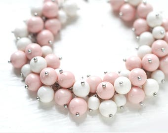 Pastel Pink and White Pearl Bracelet for Weddings and Bridesmaids