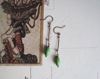 Green Beaded Earrings, Long Brass and Bead Dangle Earrings, Vintage Style, Boho Jewelry for Women