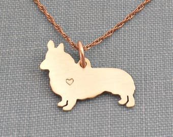 Pembroke Welsh Corgi dog Necklace, 14kt gold filled & Brass Personalize Pendant, Breed Silhouette Charm Rescue Shelter, Memorial Gift