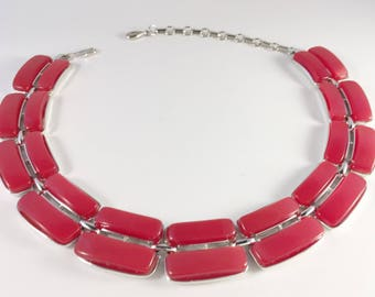 Red Lisner Necklace, Vintage Jewelry, Vintage Necklace, Lisner Jewelry, Red Lucite Necklace, Lisner Lucite Choker, Red Choker Vintage Choker