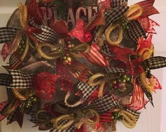 "Small Burlap Deco Mesh Wreath  18"" X 18"" X 5"" . Light Weight."