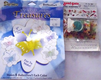 Beaded Butterflies-Bead Kit Darice and Bead Pets makes 20 Tiny Animals Swan, Frog & More