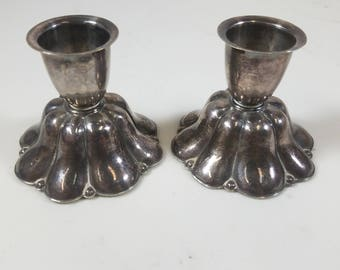 Pair of Antique Silver Plated Candlestick Holders Made in Denmark Felt Footed Bottom