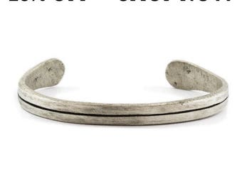 SALE Silver Mens Bracelet Oxidized Bangle Line Cuff Unisex