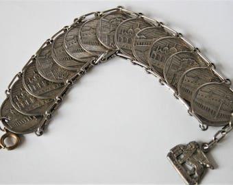 Vintage Venice souvenir coin charm bracelet. Italian bracelet.  Venetian bracelet.  Vintage jewellery