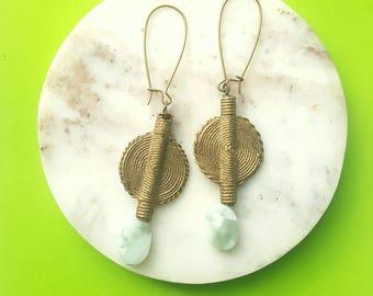 Large, African brass pendant earrings-dramatic drop dangle earrings//amazonite earrings