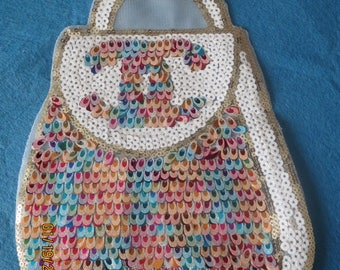 Sequined handbag iron on applique