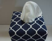 Ready To Ship -  Blue and White Quatrefoil Cotton Print-  Fabric Tissue Box Cover