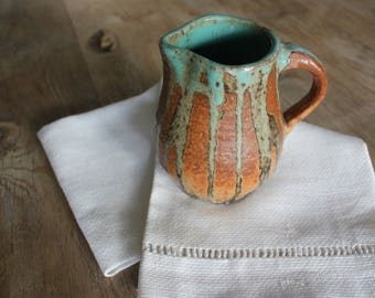 Vintage Artist Signed Rustic Hand Thrown Studio Pottery Pitcher