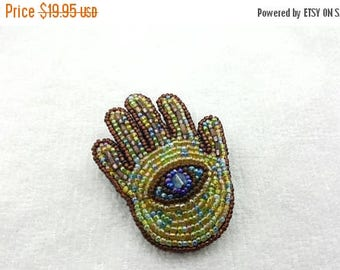 Beaded Hamsa Hand Brooch Protection Symbol of all faiths Happiness Health Good Fortune